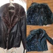 Мужская зимняя кожаная куртка на волчьем меху