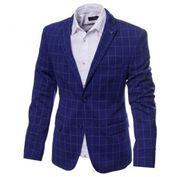 Пиджак ярко-синий в клетку. Размер 50